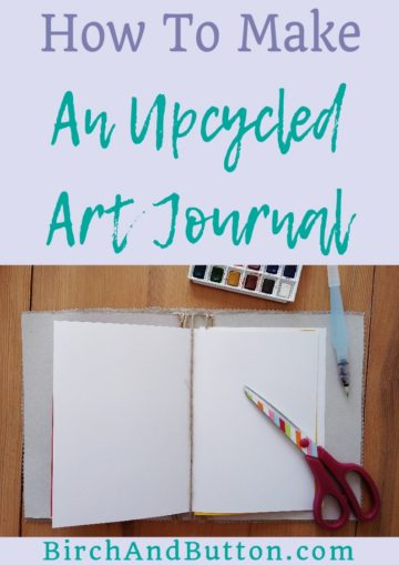 If you have an empty cereal box and a piece of leftover fabric (or even some old clothes you don't mind cutting up!) you can make a simple upcycled art journal. Use up some of the craft supplies you have in your stash to make this fun project. Click through for the step-by-step tutorial.