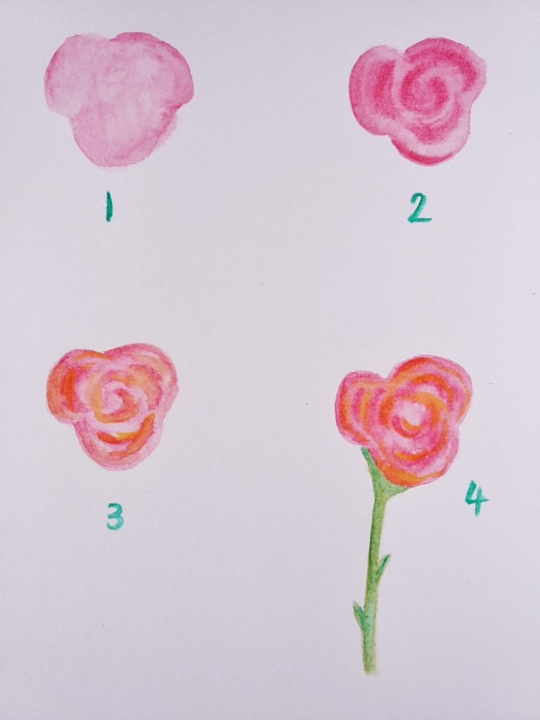 How To Paint A Simple Abstract Watercolour Rose Birch And On