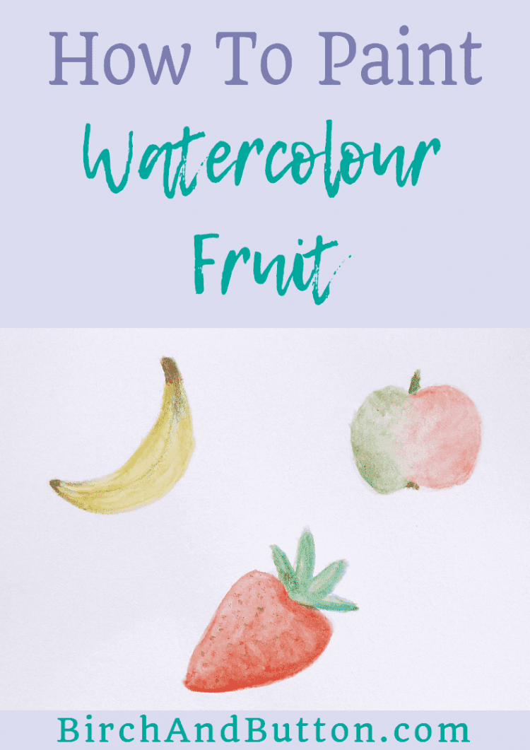 If you like playing around with watercolours to paint simple paintings, you'll love this blog post. Today I'm showing you a quick and easy way to paint three types of simple watercolour fruit: a banana, an apple, and a strawberry.